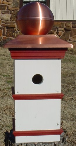 Colonial Style Birdhouse with Copper Dome Roof