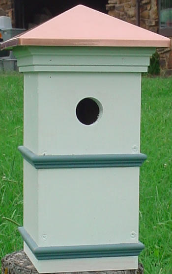 Colonial Style Birdhouse with Copper Roof